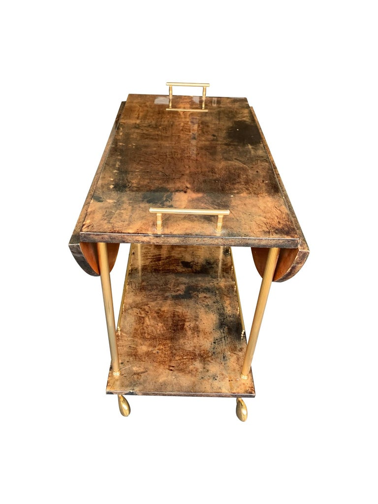 Aldo Tura 1960s Lacquered Goatskin Bar Cart with Extendable Top In Good Condition For Sale In London, GB