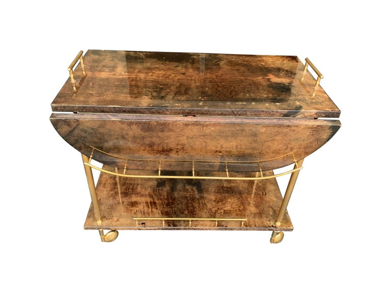 Mid-20th Century Aldo Tura 1960s Lacquered Goatskin Bar Cart with Extendable Top For Sale