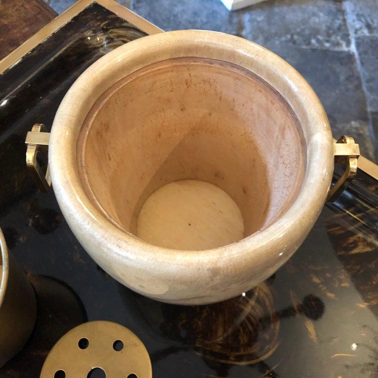 Aldo Tura Mid-Century Modern Brass and Wood Ice Bucket, circa 1960 For Sale 3