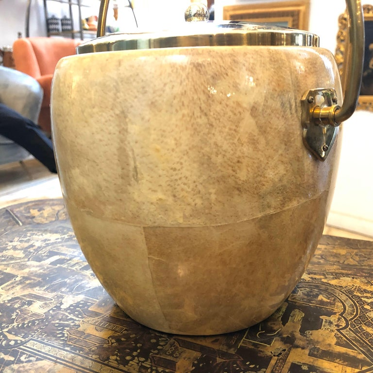 Italian Aldo Tura Mid-Century Modern Goatskin and Brass Ice Bucket, circa 1960 For Sale