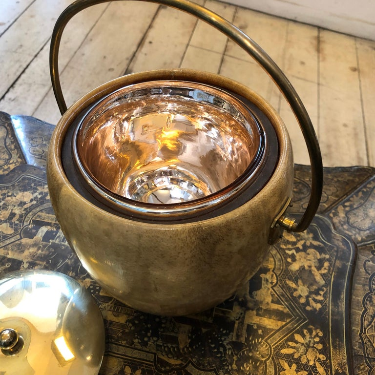 20th Century Aldo Tura Mid-Century Modern Goatskin and Brass Ice Bucket, circa 1960 For Sale