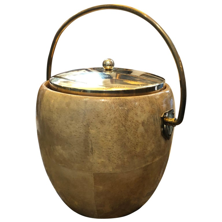 Aldo Tura Mid-Century Modern Goatskin and Brass Ice Bucket, circa 1960 For Sale