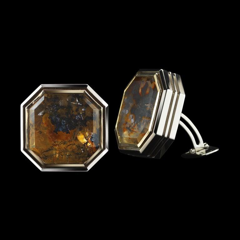 Contemporary Alexandra Mor Father's Day Dendritic Quartz and Diamond Gold Cufflinks L/E 2/10 For Sale