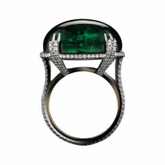 Alexandra Mor Oval Cabochon Green-Tourmaline Diamond Ring
