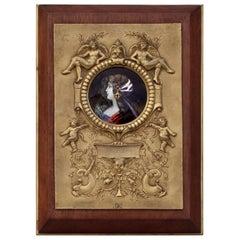 Alfred Garnier Enamel on Copper Plaque Medallion
