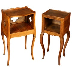 Almost Pair of French Fruitwood Antique Nightstands