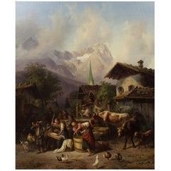 """""""An Alpine Village"""" Antique Landscape Painting by Joseph Heinrich Marr, German"""