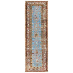 Amazing Antique Tribal Persian Kurdish Runner in Blue and Multi Colors