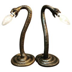 An Amazing Pair Of Antique Edward Trulsson Table Lamps In Bronze