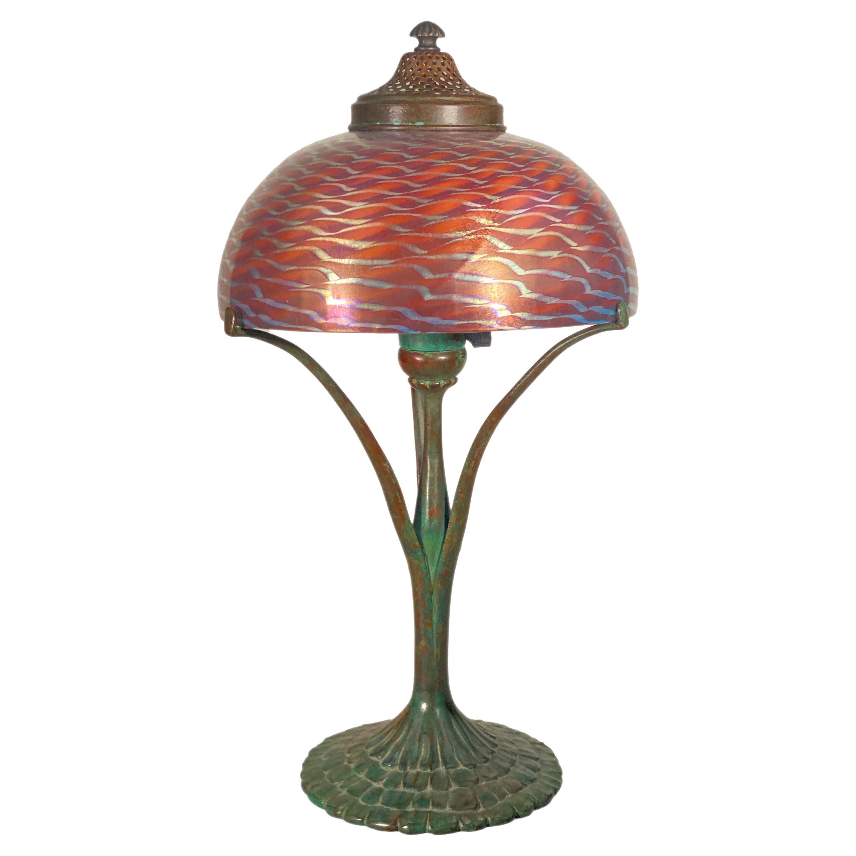 An American Art Nouveau Damascene Desk Lamp by, Tiffany Studios