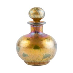 American Art Nouveau Tiffany Favrile Hearts and Vine Art Glass Perfume Bottle