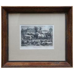 """""""An American Farm-Yard"""" Antique 1873 Victorian Engraving Cows Horses Pigs Sheep"""