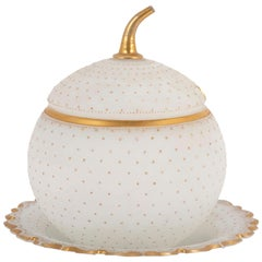 American Frosted Glass and Gilt Ice Holder