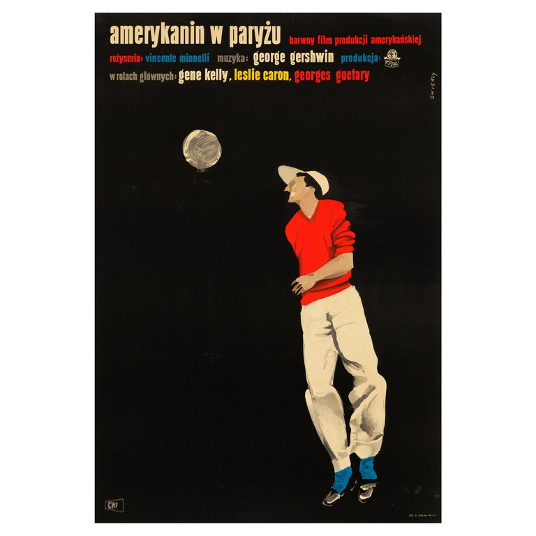 'An American In Paris' Original Vintage Movie Poster, Polish, 1958 For Sale