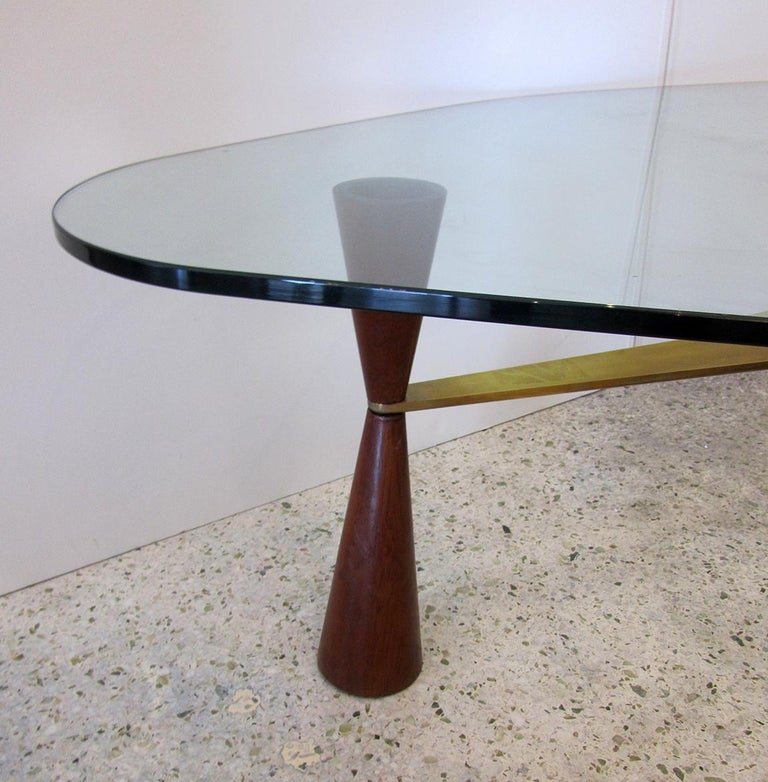 Mid-20th Century American Modern Brass /Wood/Glass Coffee Table, Edward Wormley for Dunbar For Sale