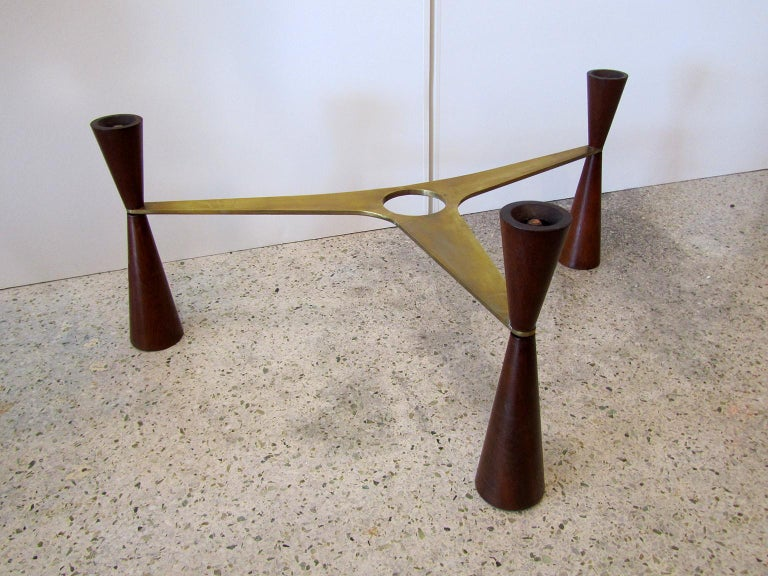 American Modern Brass /Wood/Glass Coffee Table, Edward Wormley for Dunbar For Sale 1