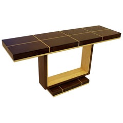 American Modern Santos Rosewood and Sycamore Console Table, Dakota Jackson