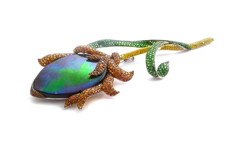 Women's or Men's Ammolite, Diamonds, Emeralds, Tsavorites Brooch in 18 Karat White Gold For Sale