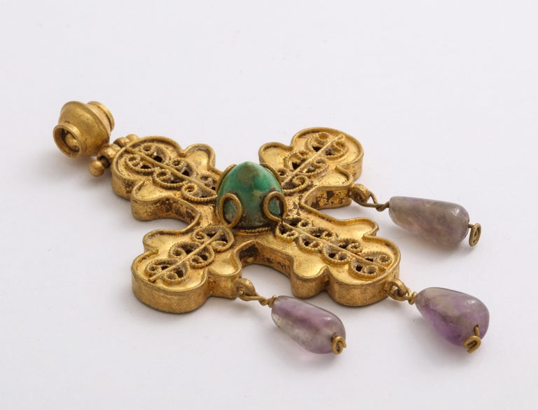 Medieval Ancient Byzantine Gold Cross with Emerald and Amethyst For Sale