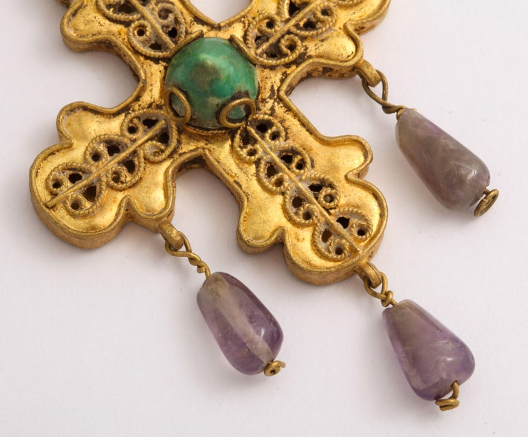 Cabochon Ancient Byzantine Gold Cross with Emerald and Amethyst For Sale