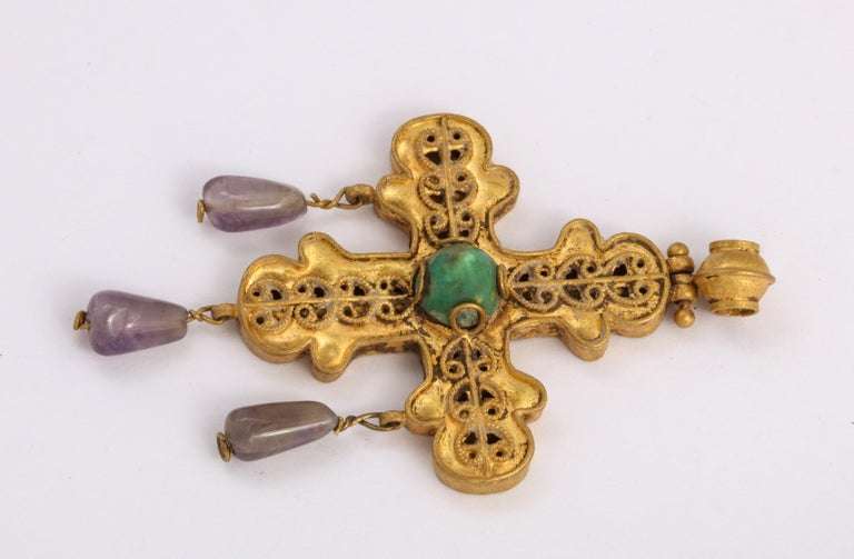 Women's or Men's Ancient Byzantine Gold Cross with Emerald and Amethyst For Sale