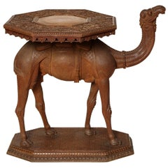 Anglo-Indian Hardwood Camel Side Table