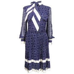 An Anne Valone Navy Chiffon Cocktail Dress with White Polka Dots Circa 1975