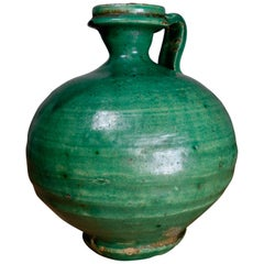 Antique 19th Century French Green Olive Oil Jug