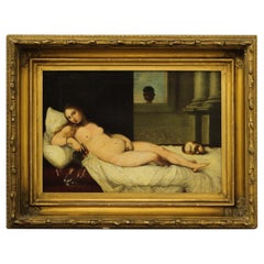 Antique 19th Century Oil on Canvas ' Nude lady posing '