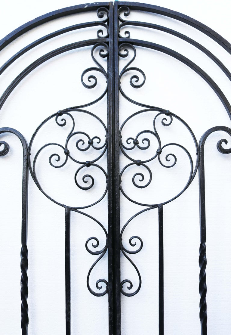 Victorian An Antique Arched Wrought Iron Garden Gate For Sale