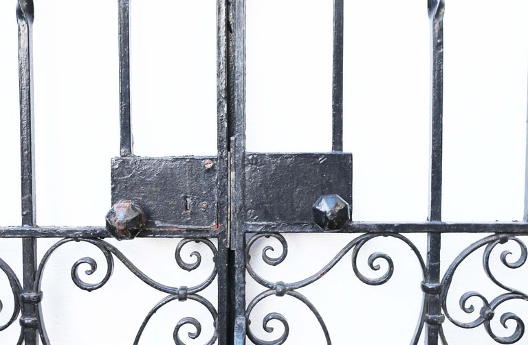 English An Antique Arched Wrought Iron Garden Gate For Sale