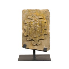 An Antique Architectural Carved Stone Fragment From Aragon Spain On Custom Stand