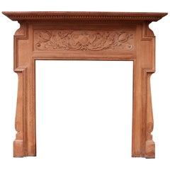 Antique Art Nouveau Oak Fireplace Surround