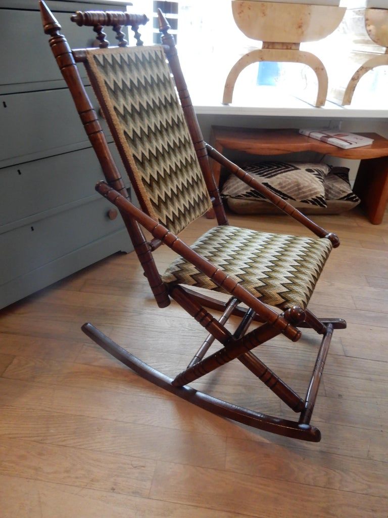 Aesthetic Movement Antique Bamboo Rocker in the George Hunzinger Style For Sale