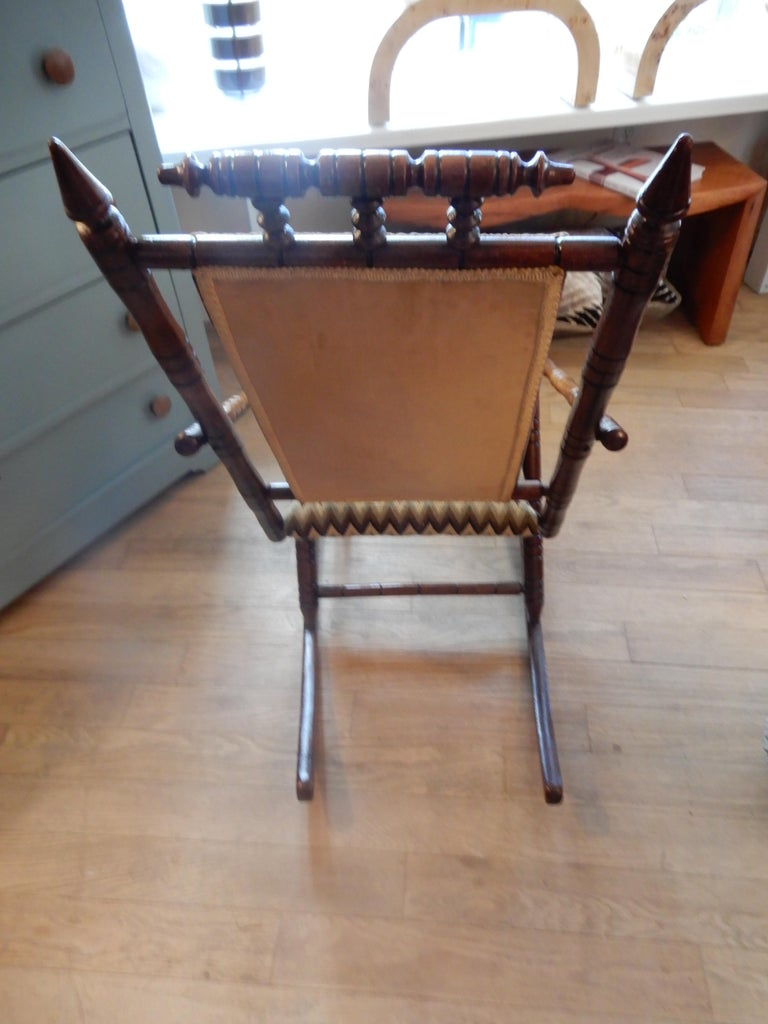 American Antique Bamboo Rocker in the George Hunzinger Style For Sale