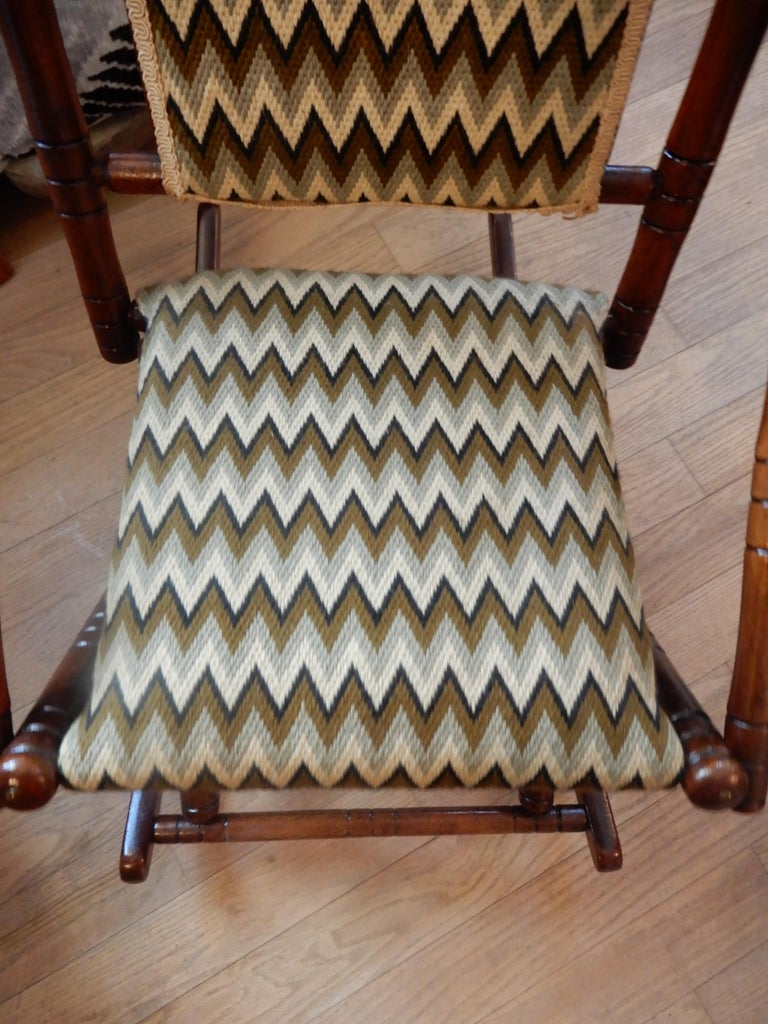 Hand-Crafted Antique Bamboo Rocker in the George Hunzinger Style For Sale