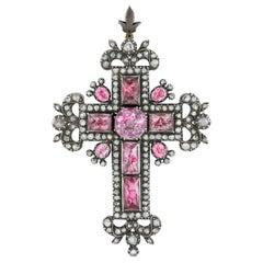 Antique Beryl and Diamond Cross Brooch