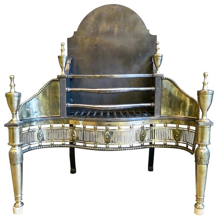 Antique Brass and Steel Georgian Style Fire Grate For Sale