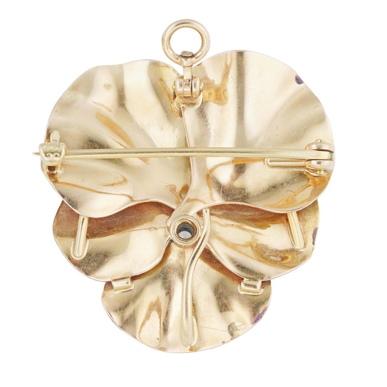 Art Nouveau Antique Enamel and Diamond Pansy Brooch For Sale