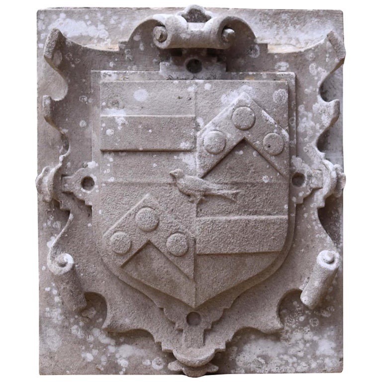Antique English Carved Stone Armorial Plaque For Sale