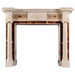 Antique English Statuary Fireplace with Inlaid Sienna and Jasper Marble