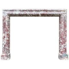Antique Fleur De Peche Marble Bolection Fireplace Mantel