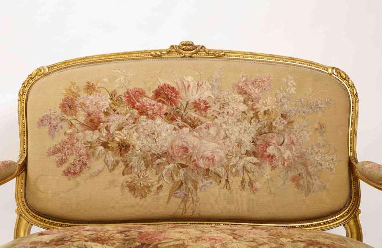 An Antique French 19th C. 5 Piece Royal Giltwood & Aubusson Suite, Att. Linke For Sale 3
