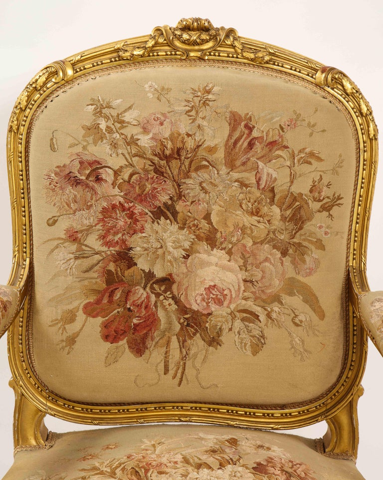 An Antique French 19th C. 5 Piece Royal Giltwood & Aubusson Suite, Att. Linke For Sale 5