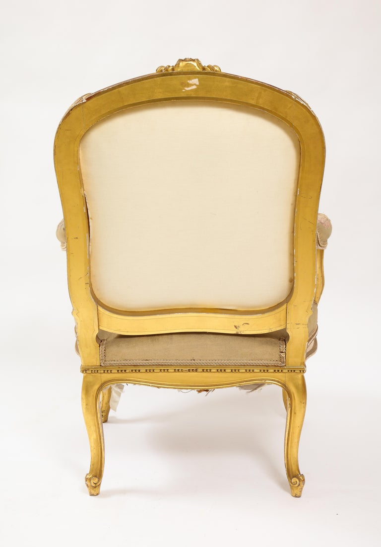 An Antique French 19th C. 5 Piece Royal Giltwood & Aubusson Suite, Att. Linke For Sale 7