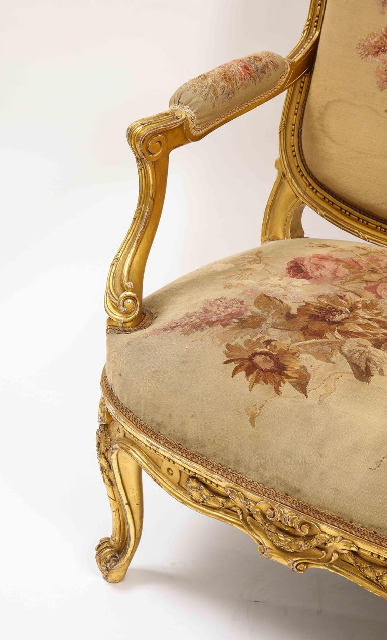 An Antique French 19th C. 5 Piece Royal Giltwood & Aubusson Suite, Att. Linke For Sale 8