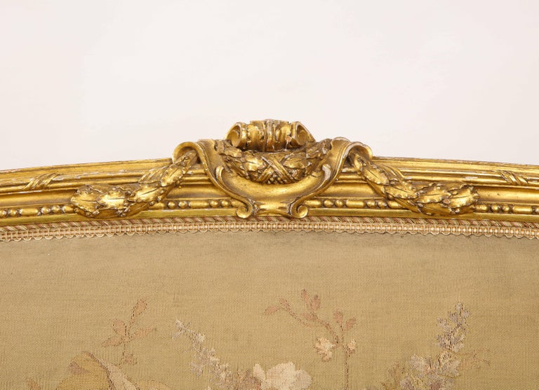 An Antique French 19th C. 5 Piece Royal Giltwood & Aubusson Suite, Att. Linke For Sale 9