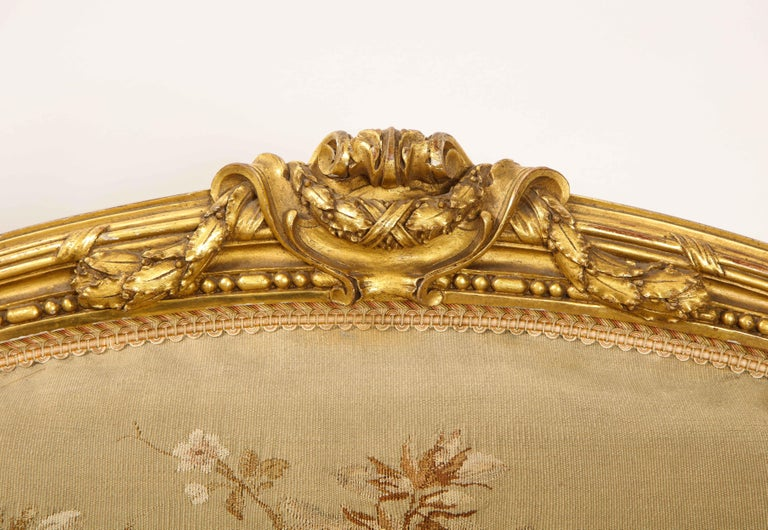 An Antique French 19th C. 5 Piece Royal Giltwood & Aubusson Suite, Att. Linke For Sale 10