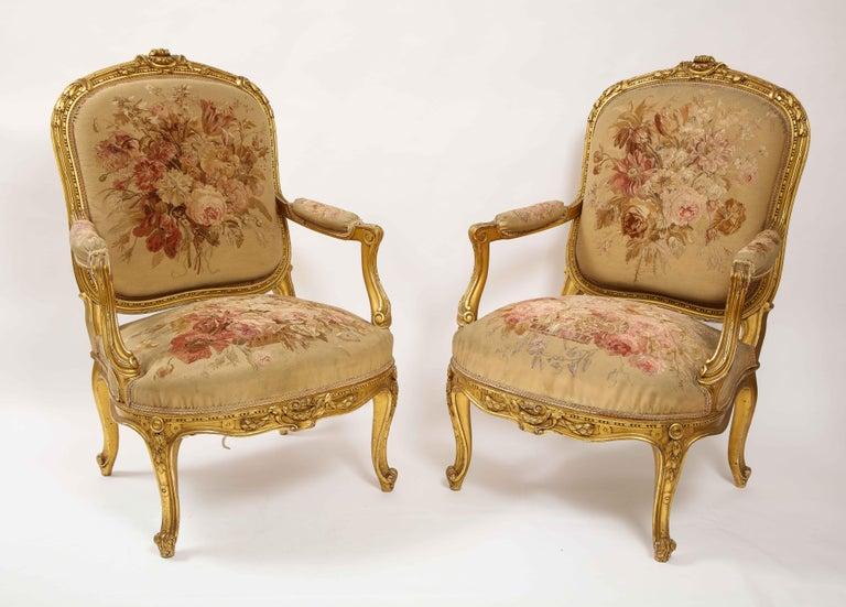 Louis XVI An Antique French 19th C. 5 Piece Royal Giltwood & Aubusson Suite, Att. Linke For Sale