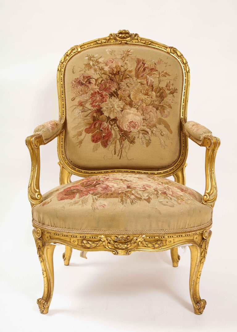 Hand-Carved An Antique French 19th C. 5 Piece Royal Giltwood & Aubusson Suite, Att. Linke For Sale